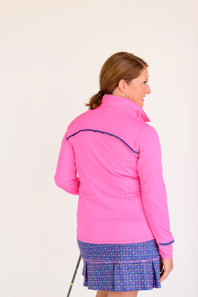 Even Par Quarter Zip Hot Pink With Navy Trim Back View