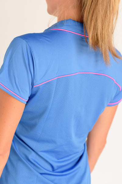 Pitch and Putt Short Sleeve Polo with Mesh Back Medium Blue with Hot Pink Piping Back View