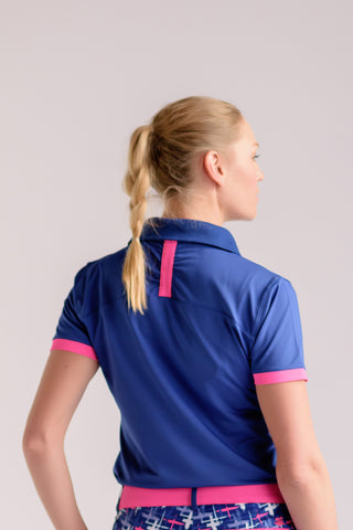 On Par Polo- Navy w/Hot Pink