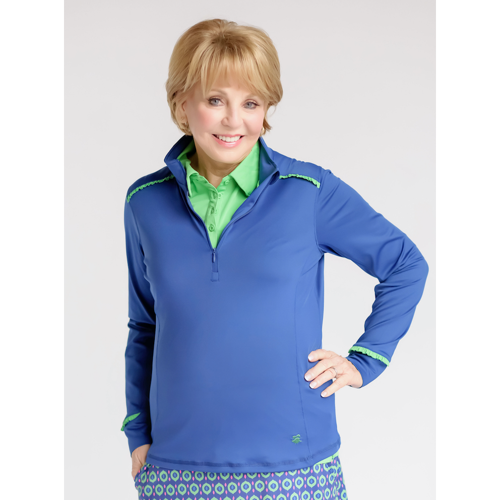 Even Par Quarter Zip-Navy w/Kelly Green