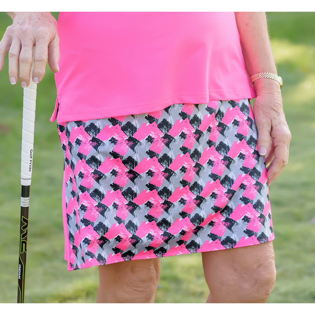 Around Course Accordian Skort- Abstract Ace