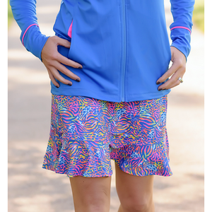 Fair Play Flounce Golf Skort-Chipping Cheetah