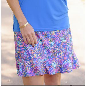 Fair Play Flounce Skort-Chipping Cheetah
