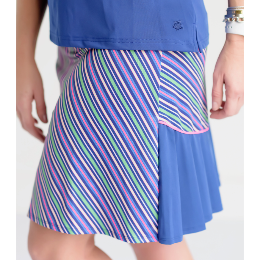 Around Course Accordian Skort-Color Pop