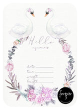 Swan Floral Announcement Card