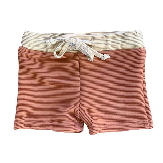 Grey Clay/Fawn Ribbed Swim Trunks
