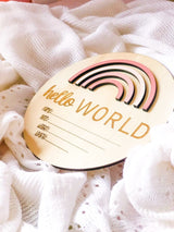 Pretty Pinks Rainbow 'Hello World' Birth Announcement Disc
