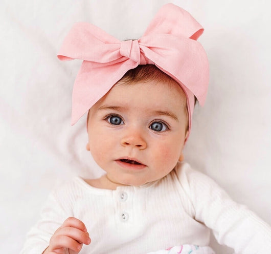 Baby Pink Linen Pre-Tied Headbow