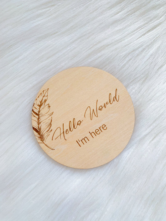 Feather Wooden 'Hello World' Disc