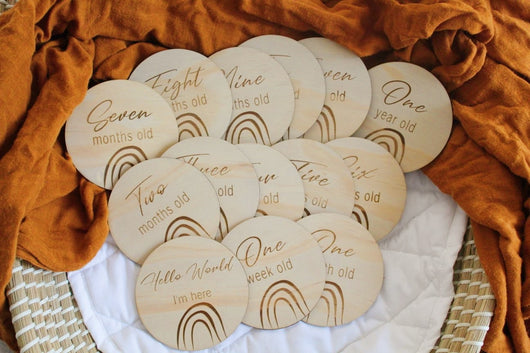 Rainbow Wooden Milestone Disc Set
