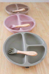 Dusty Blush Pink Silicone Suction Plate & Fork