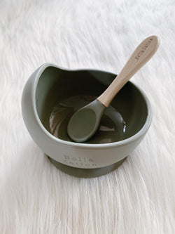 Sage Silicone Suction Bowl & Spoon