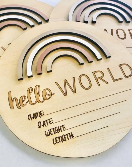 Sand Dunes Rainbow 'Hello World' Birth Announcement Disc