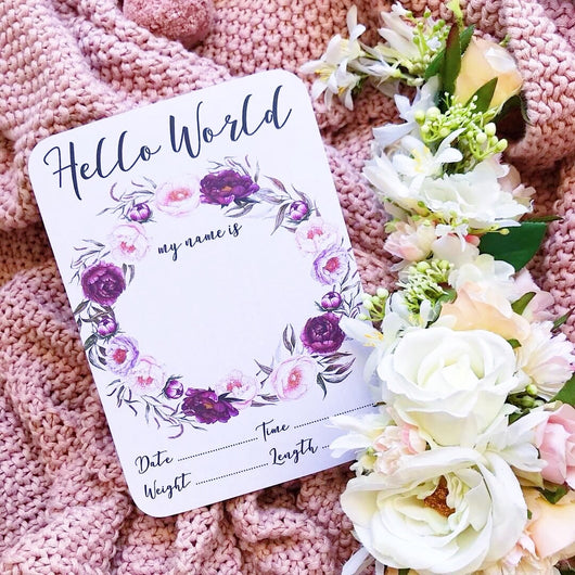 Violet Wreath Announcement Card