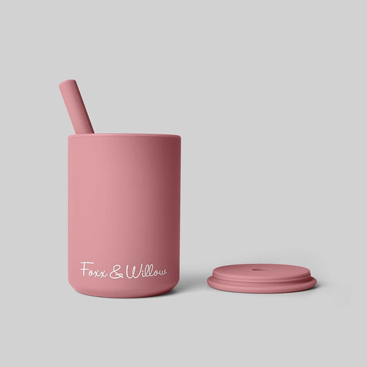Rose Silicone Cup & Straw