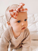 Red Gingham Bow Headband