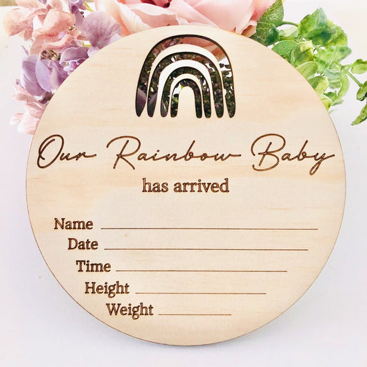 'Our Rainbow Baby' Birth Announcement Disc