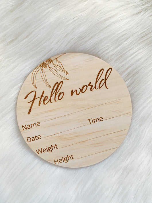 Gumnut Wooden Birth Announcement Disc
