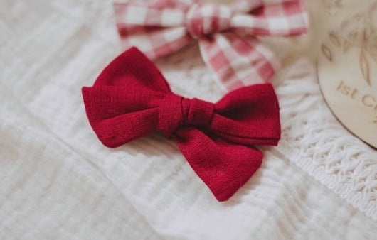 Red Linen & Red Gingham Bow Headband Set