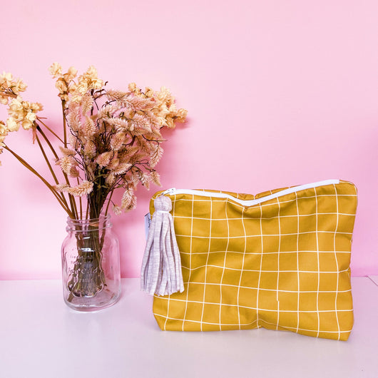 Mustard Lines Nappy Wallet Clutch