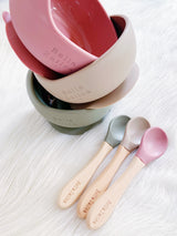 Dusty Blush Pink Silicone Suction Bowl & Spoon