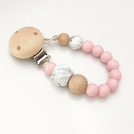 Baby Doll Pink Silicone Dummy Clip