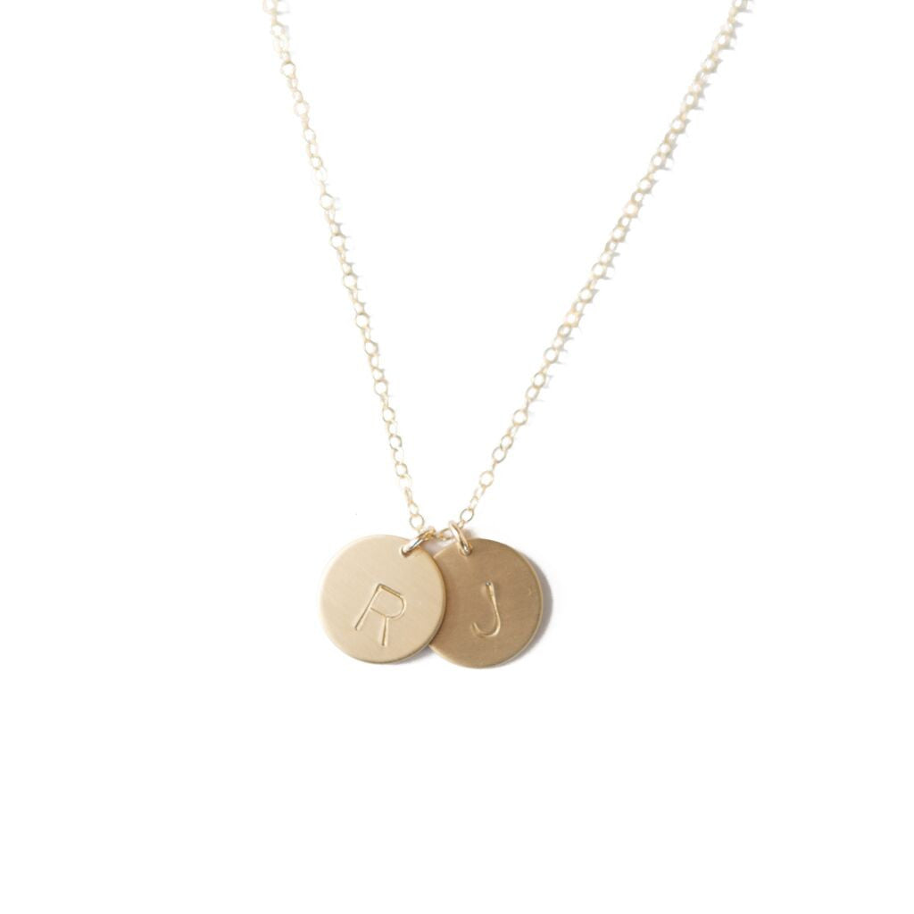 Initials Disk Necklace -Double Pendant