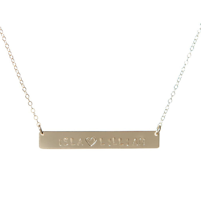 Heart Double Name Bar Necklace