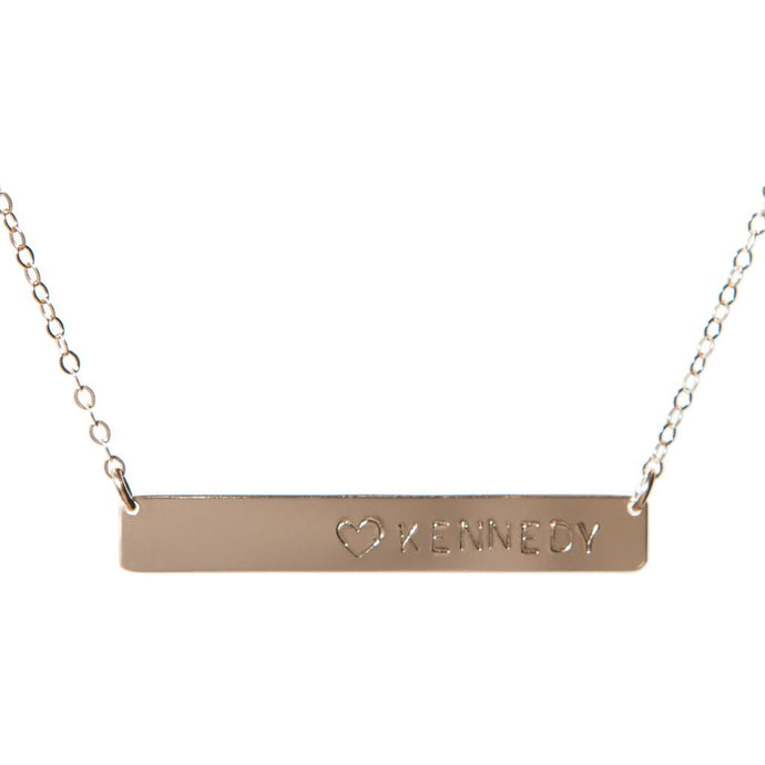 Heart Name Bar Necklace