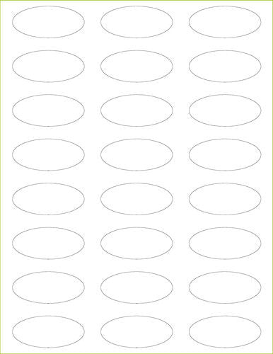 "Classic White Solid Paper 80# Labels - 2 1/4"" x 1"" Oval - Paperandmore.com"
