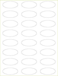 "Bright White Linen Labels - 2 1/4"" x 1"" Oval"