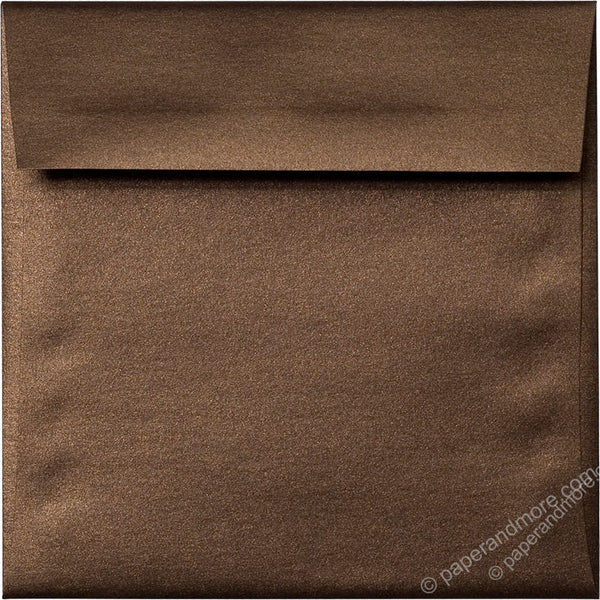 "5 1/2"" Square Bronze Brown Metallic Envelopes (5 1/2"" x 5 1/2"") - Paperandmore.com"