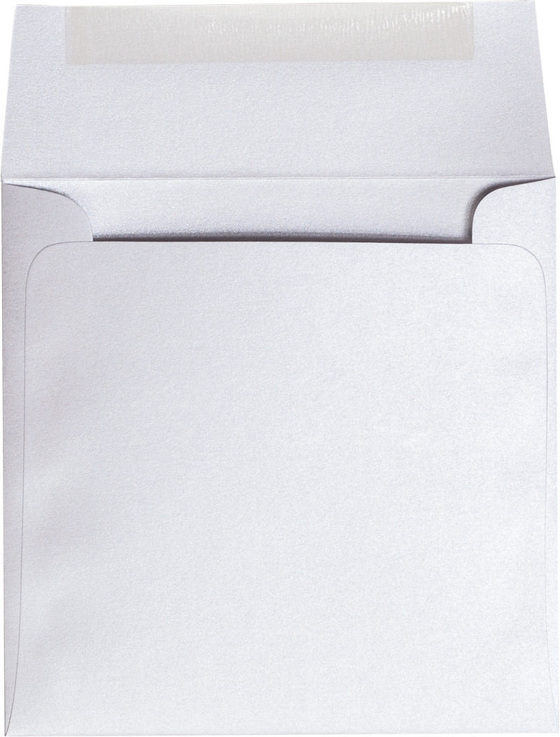 "5 1/2"" Square Pearl White Metallic Envelopes (5 1/2"" x 5 1/2"") - Paperandmore.com"