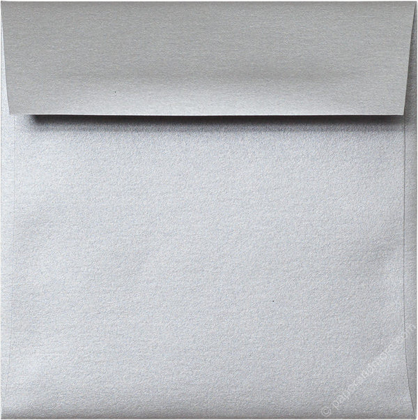 "5 1/2"" Square Silver Metallic Envelopes (5 1/2"" x 5 1/2"") - Paperandmore.com"