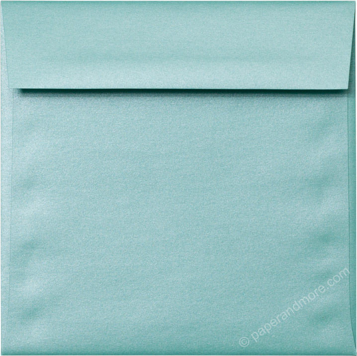 "6 1/2"" Square Aqua Lagoon Metallic Envelopes (6 1/2"" x 6 1/2"") - Paperandmore.com"