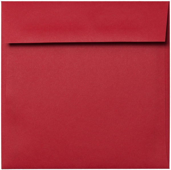 "6 1/2"" Square Cherry Red Solid Envelopes (6 1/2"" x 6 1/2"") - Paperandmore.com"