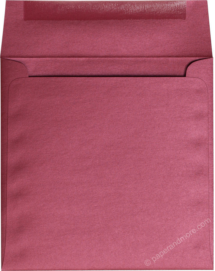 "6 1/2"" Square Crimson Red Metallic Envelopes (6 1/2"" x 6 1/2"") - Paperandmore.com"