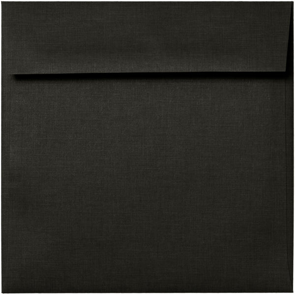"6 1/2"" Square Epic Black Linen Envelopes (6 1/2"" x 6 1/2"") - Paperandmore.com"
