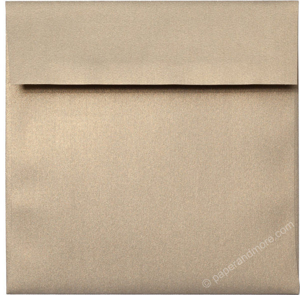 "6 1/2"" Square Gold Leaf Metallic Envelopes (6 1/2"" x 6 1/2"") - Paperandmore.com"