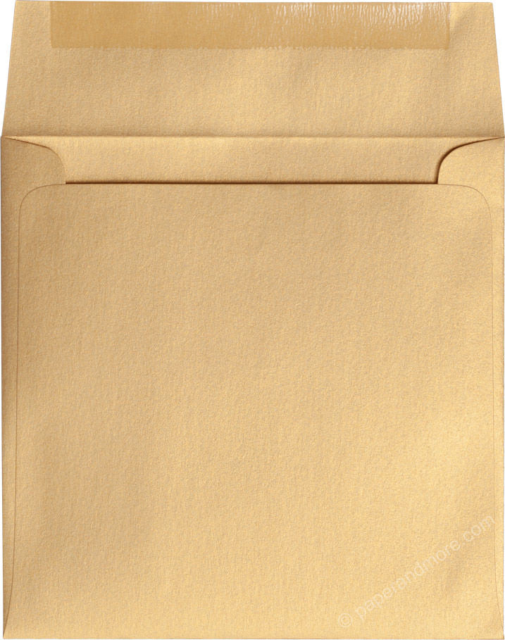 "6 1/2"" Square Gold Metallic Envelopes (6 1/2"" x 6 1/2"")"