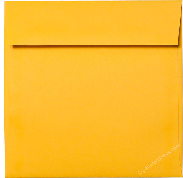 "6 1/2"" Square Lemon Yellow Solid Envelopes (6 1/2"" x 6 1/2"") - Paperandmore.com"