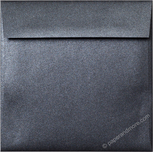 "6 1/2"" Square Onyx Black Metallic Envelopes (6 1/2"" x 6 1/2"") - Paperandmore.com"