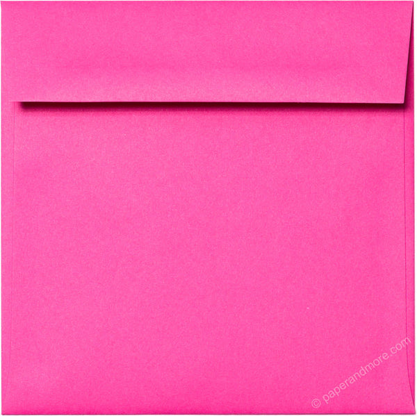 "6 1/2"" Square Razzle Pink Solid Envelopes (6 1/2"" x 6 1/2"") - Paperandmore.com"