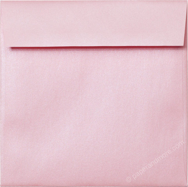 "6 1/2"" Square Rose Pink Metallic Envelopes (6 1/2"" x 6 1/2"") - Paperandmore.com"