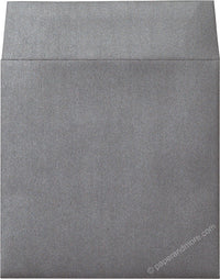 "6 1/2"" Square Steel Gray Metallic Envelopes (6 1/2"" x 6 1/2"") - Paperandmore.com"