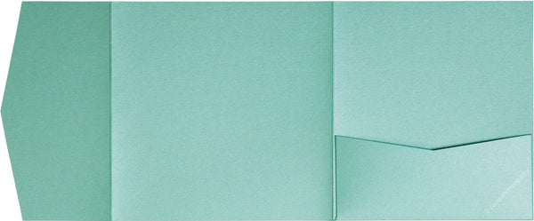 Aqua Lagoon Metallic Pocket Invitation Card, 6 1/4 Himalaya - Paperandmore.com
