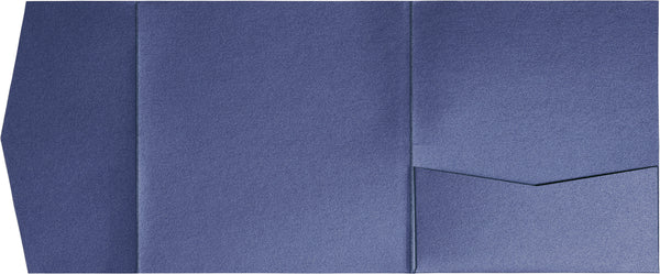 Blueprint Blue Metallic Pocket Invitation Card, 6 1/4 Himalaya