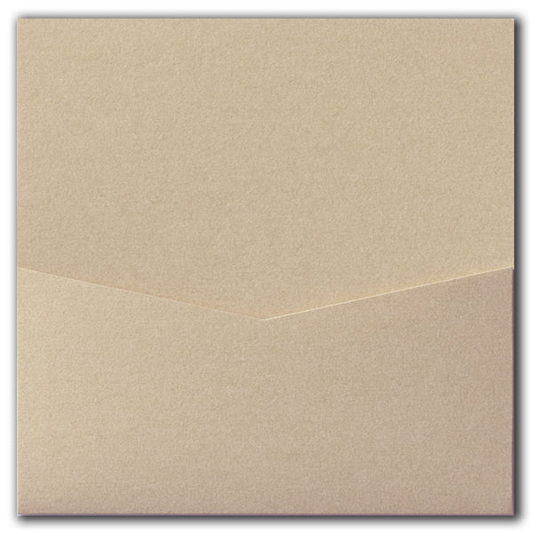 Beige Sand Metallic Pocket Invitation Card, 6 1/4 Denali
