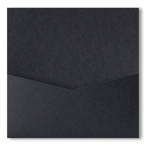 Black Solid Pocket Invitation Card, 6 1/4 Denali - Paperandmore.com