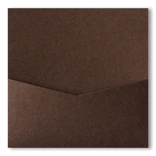 Bronze Brown Metallic Pocket Invitation Card, 6 1/4 Denali